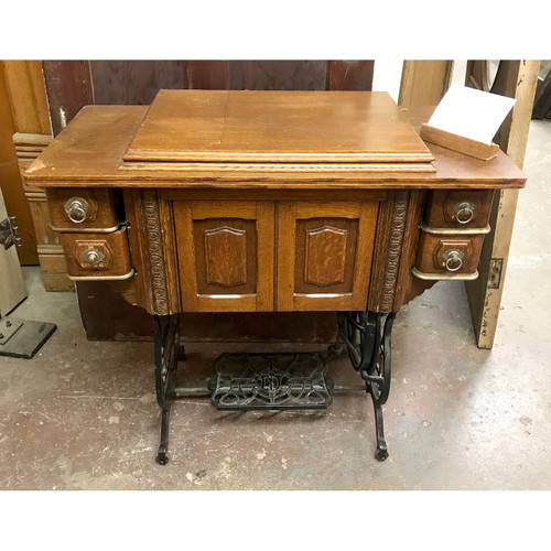 F18077 - Antique Victorian Era Treadle Sewing Machine and Cabinet