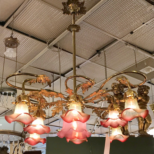 L18117 - Antique Late Victorian Early Electric Nine Light Hanging Fixture