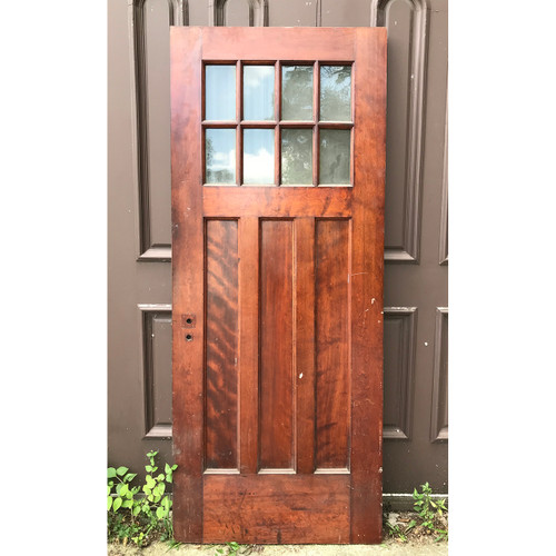 "D18106 - Antique Arts and Crafts Birch and Oak  Interior Door with Glass 32"" x 77-1/4"""