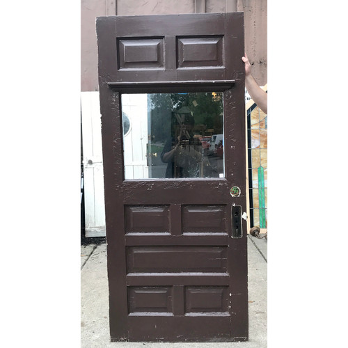 """D18119 - Antique Late Victorian Paneled Exterior Door with Partial Glass 35-3/4"""" x 82"""""""
