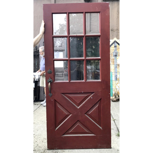 "D18120 - Antique Revival Period Exterior Bucksawn Door with Glass 36"" x 79-3/4"""