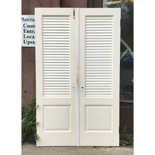 "D18122 - Pair of Antique Pine Interior Louvered and Paneled Doors 48"" x 79"""