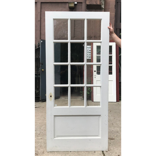 """D18127 - Antique Revival Period Painted Pine Exterior Door with Glass 36""""x 79-3/4"""""""