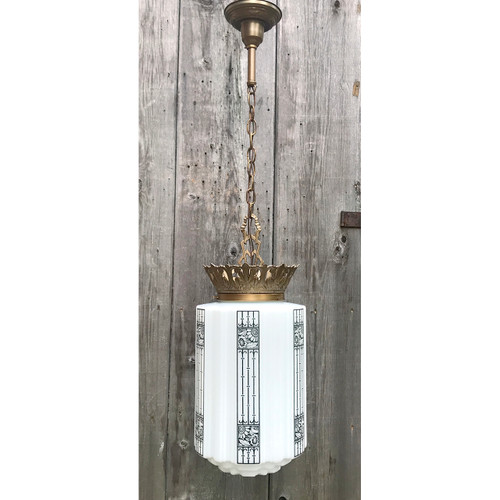 L18128 - Antique Art Deco Pendant Hanging Fixture