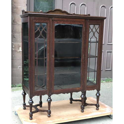 F18107 - Antique Tudor Revival Oak China Cabinet