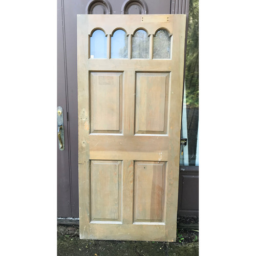 """D18153 - Contemporary Varnished Pine Exterior Door with Upper Glass 35-3/4"""" x 79"""""""