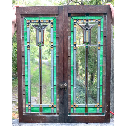 G18076 - Pair of Antique Prairie Style Cabinet Doors