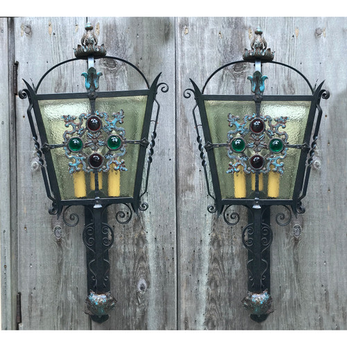L18145 - Pair of Massive Antique Tudor Revival Style Sconces