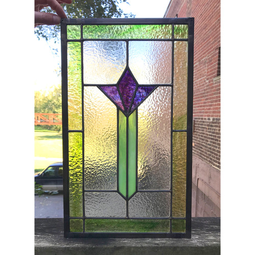 G18078A - Antique Arts and Crafts Stained Glass Window
