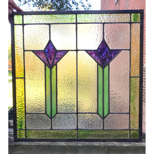 G18079 - Antique Arts and Crafts Stained Glass Window