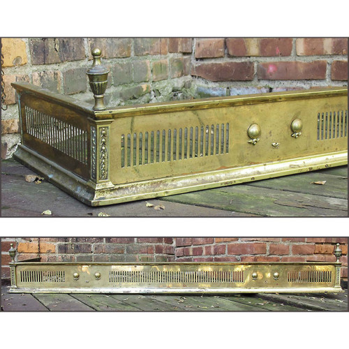 805663 - Antique Neoclassical Brass Mantel Fender
