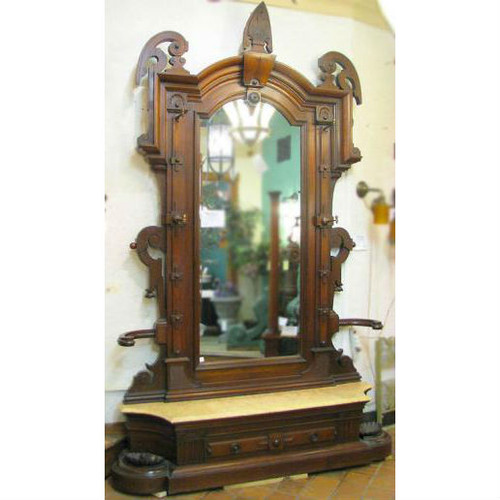 F10053 -  Antique Renaissance Revival Hall Mirror with Marble Seat