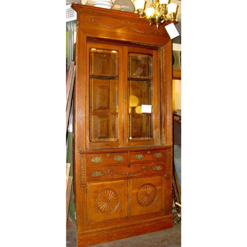 F12039 - Antique Neoclassical Oak Cupboard