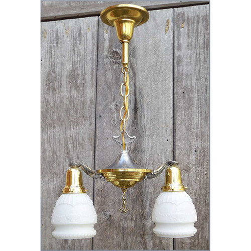 603325 - Antique Neoclassical Two Arm Ceiling Light Fixture