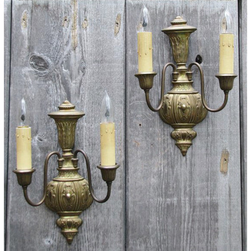 606849 - Pair of Antique Tudor Double Candle Arm Wall Sconces