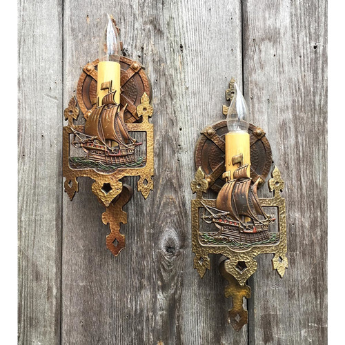 607653 - Pair of Antique Candle Arm Wall Sconces Made by Lincoln