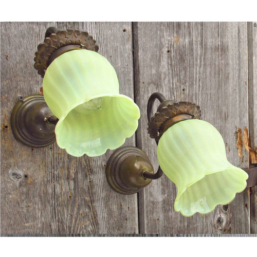 608614 - Pair of Antique Arts and Crafts Wall Sconces with Art Glass Shades