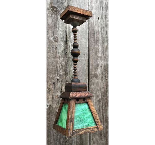 609203 - Antique Oak Mission Style Ceiling Light Fixture with Stained Glass