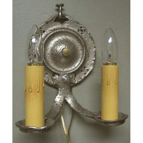 609403 - Antique Tudor Revival Double Candle Arm Wall Sconce