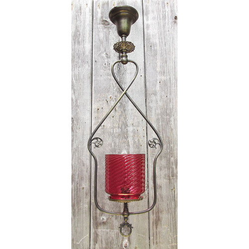 609704 - Antique Victorian Harp Ceiling Light Fixture with Cranberry Glass