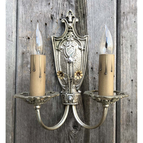 610077 - Antique Tudor Revival Candle Arm Wall Sconce