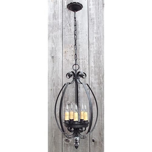 610154 - Antique French Provincial Style Ceiling Light Fixture with Five Candles