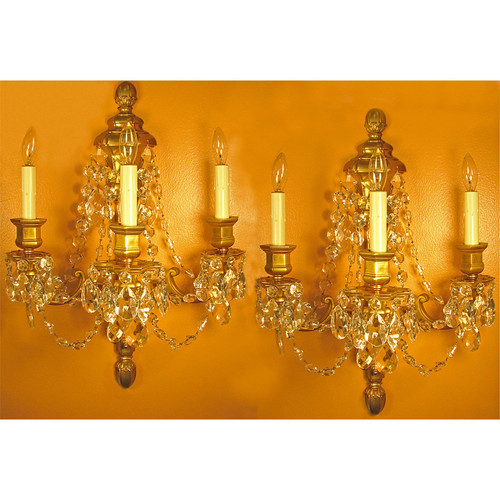 L11315 - Pair of Antique Gilded Three Arm Candle Sconces Wall Sconces with Crystals