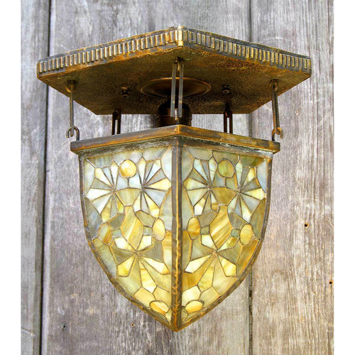 L12077 - Antique Tiffany Stained Glass Ceiling Light Fixture