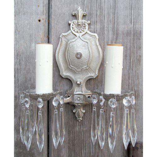 L12377 - Antique Wall Sconce with Crystal Prisms