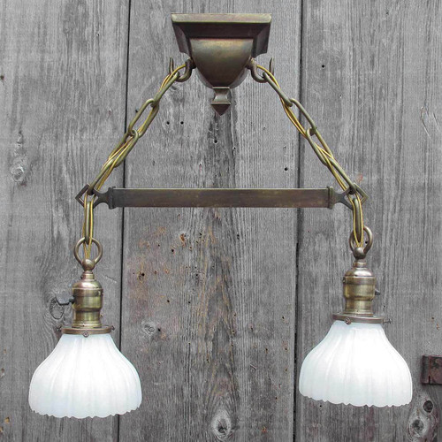 L12422 - Antique Arts and Crafts Two Light Ceiling Fixture with Milk Glass Shades