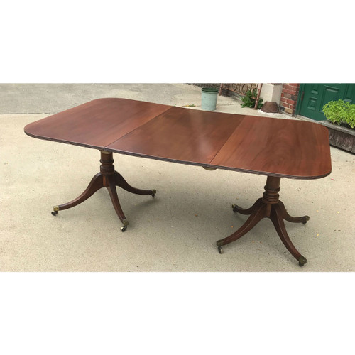 F13102 - Antique Sheraton Style Mahogany Double Pedestal Dining Table