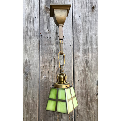 L13215 - Antique Arts and Crafts Hanging Pendant Lantern Fixture