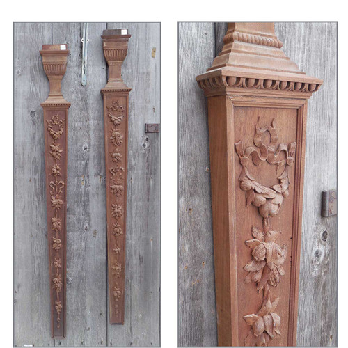S13095 - Pair of Antique Carved Mahogany Interior Trim Pilasters