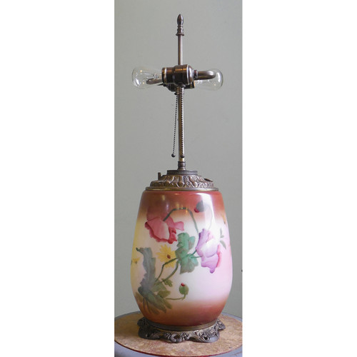 L14008 - Antique Victorian Electrified Table Banquet Lamp