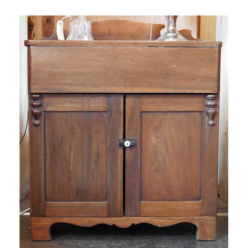 F14006 - Antique Poplar Two Door Washstand with Lift Top