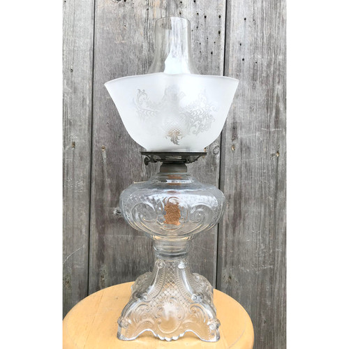 L14153 - Antique Colonial Revival Kerosene Table Lamp