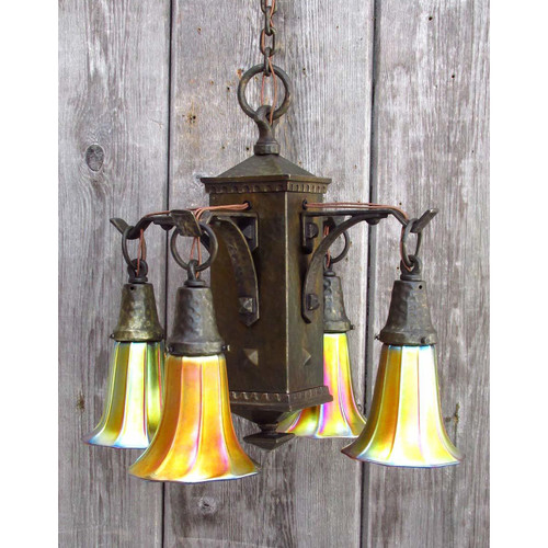 L15036 - Antique Arts & Crafts Fixture with Steuben Gold Aurene Art Glass Shades