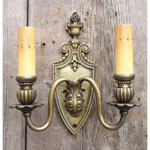 L15122 - Antique Cast Brass Colonial Revival Style Two Arm Candle Sconce