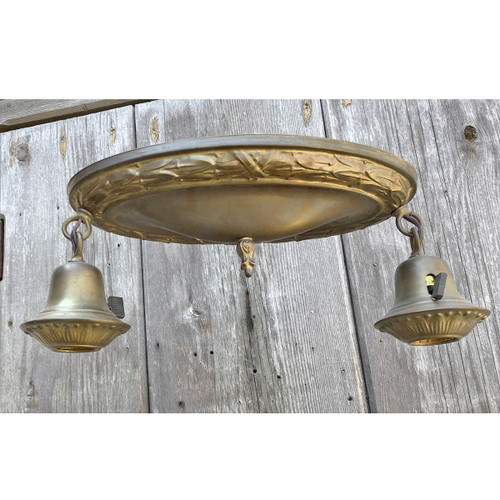L15195 - Antique Colonial Revival Flush Pan Two Light Bare Bulb Fixture