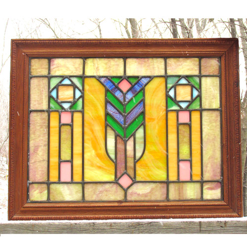 G16008 - Antique Arts and Crafts Stained Glass Window