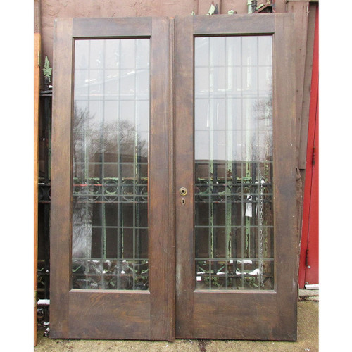 "D16012 - Pair of Antique Revival Period Birch French Doors 60-1/2"" x 80"""