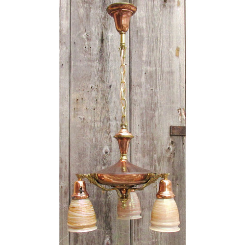 L16049 - Antique Colonial Revival Three Arm Pan Light Fixture with Art Glass Shades