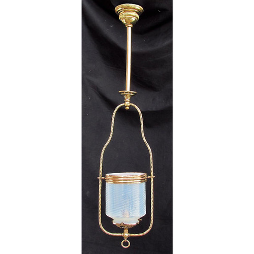 L16059 - Antique Late Victorian Hanging Pendant Gas Fixture