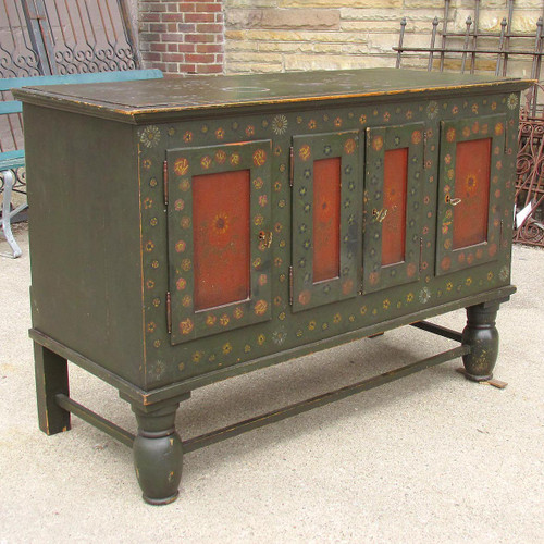 F16067 - Antique European Rosemaled 4 Door Sideboard
