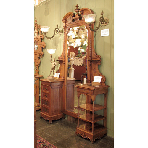 F16141 - Antique Renaissance Revival Walnut Vanity Dresser