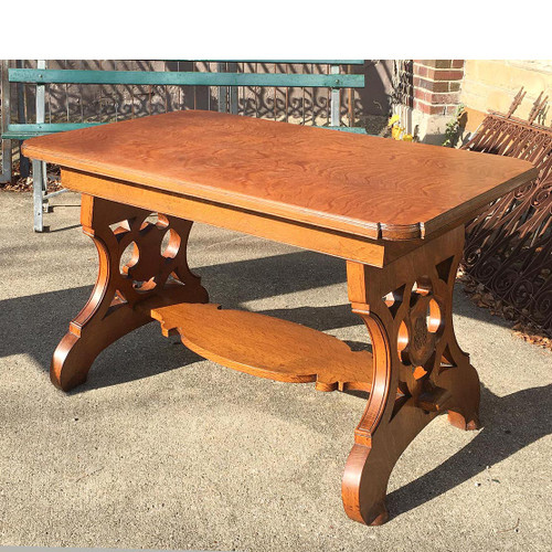 F16166 - Antique Late Victorian Quartersawn Oak Library Table