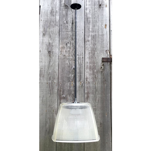 L16207 - Custom Industrial Pendant Fixture with Vintage Holophane Shade