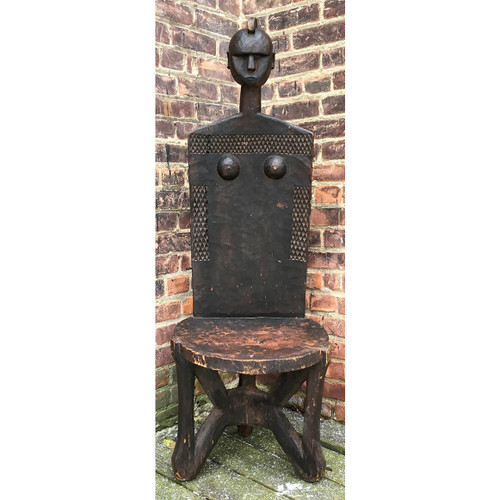 F16184 - Antique Carved African Tribal Art Chair