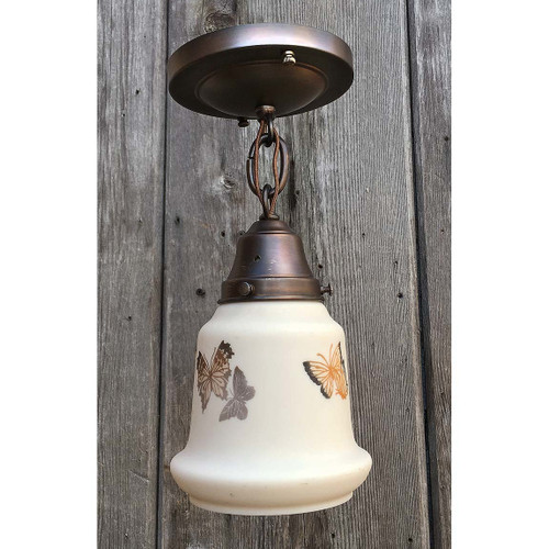 L17038 - Brass Single Pendant Fixture Holding an Antique Satin Shade  with Butterfly Transfers