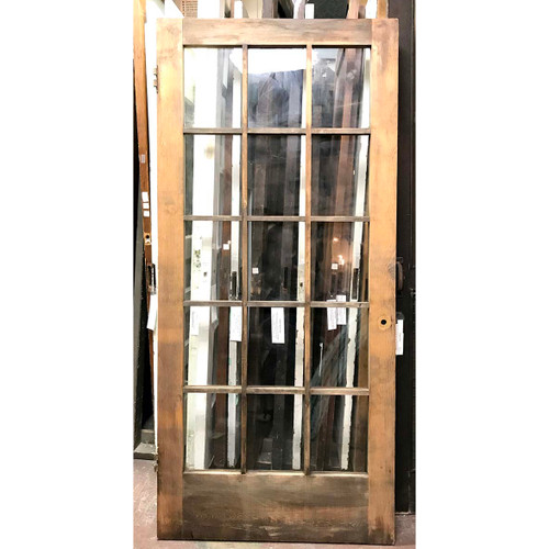 "D17032 - Antique Arts and Crafts Pine Exterior/Interior French Door 36"" x 78-1/4"""